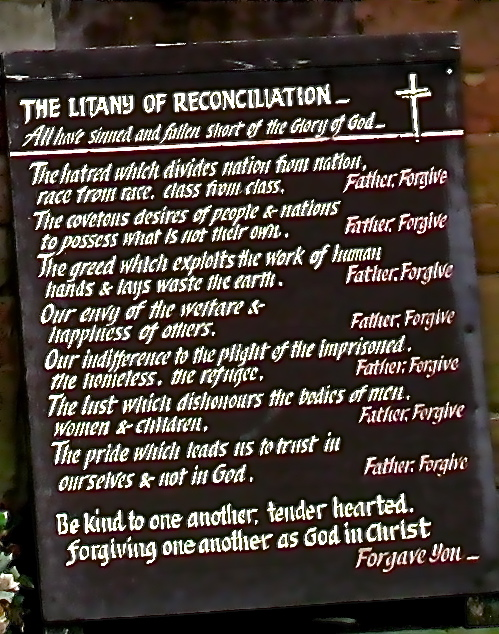 The Litany of Reconciliation - cropped from the larger photograph - the writing isn't very clear