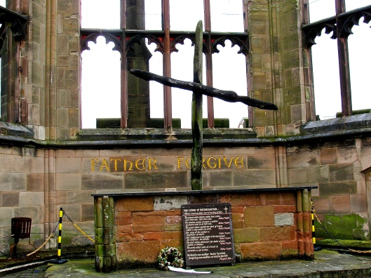 Cross made from two beams as they were found the morning after the bombing raid destroyed the cathedral