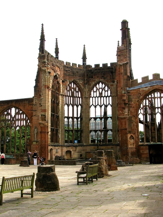 Coventry Cathedral destroyed by enemy bombs during World War II