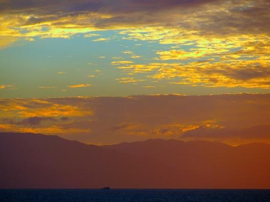 Sea, Mountains, Sunset, Peace