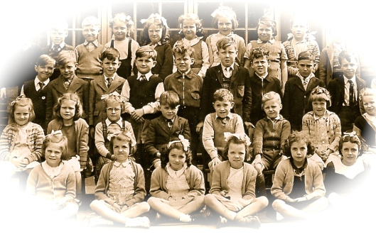 The Two Rodneys at School.  The two boys on the right end of second row.