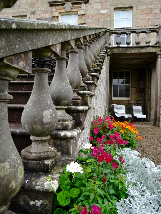 Balustrade and steps leading to the rear terrace of Haddo House