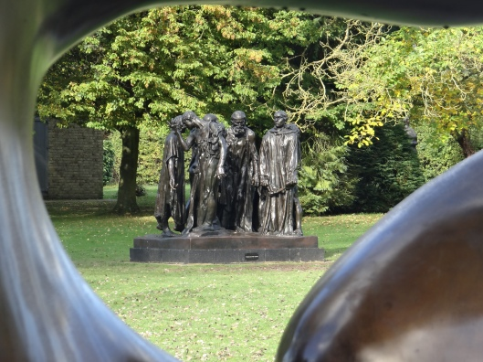 Monument to the  Burghers of Calais - AR seen through Three Piece Sculpture - HM