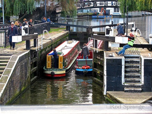 Two canal boats entering the lock