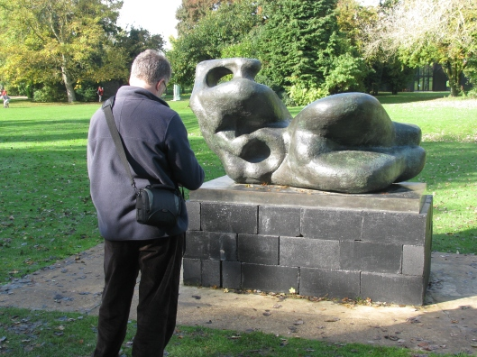 Me interacting with Reclining Figure: Bunched  -  Photo SKS
