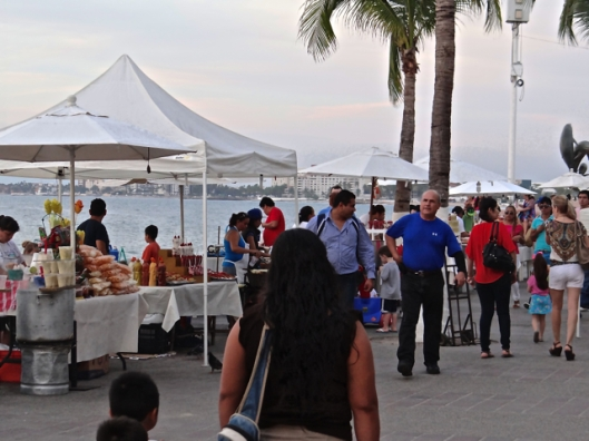 The vendors set up along the malecon