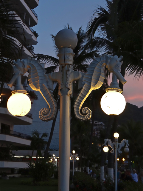 Seahorse lamps light the Malecon