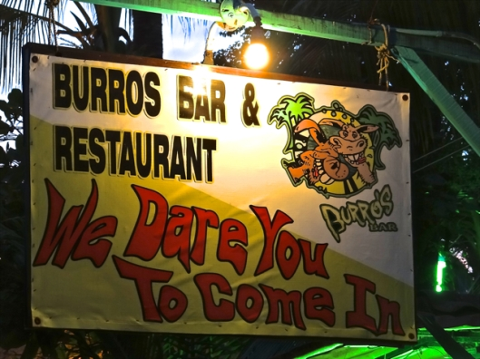 Burros (donkeys) Bar.  A popular place for food and beer.  Sit right on the beach.