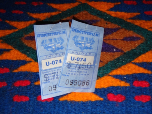 PV bus tickets on our new woven runner from Mexico