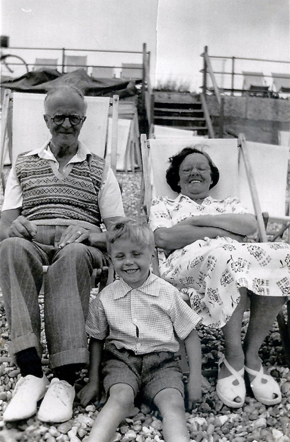 Nan and Pop and just rod at the seaside circa 1950