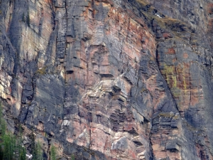 This is a telephoto shot of the rock face showing the wonderful colours