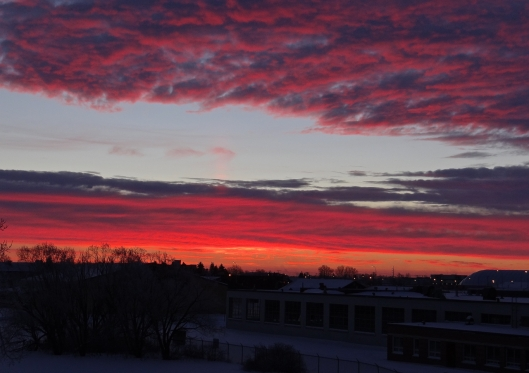 Sunrise over a balcony in Winnipeg